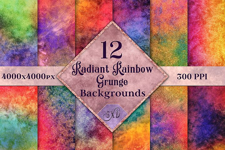 Radiant Rainbow Grunge Backgrounds - 12 Image Textures Set