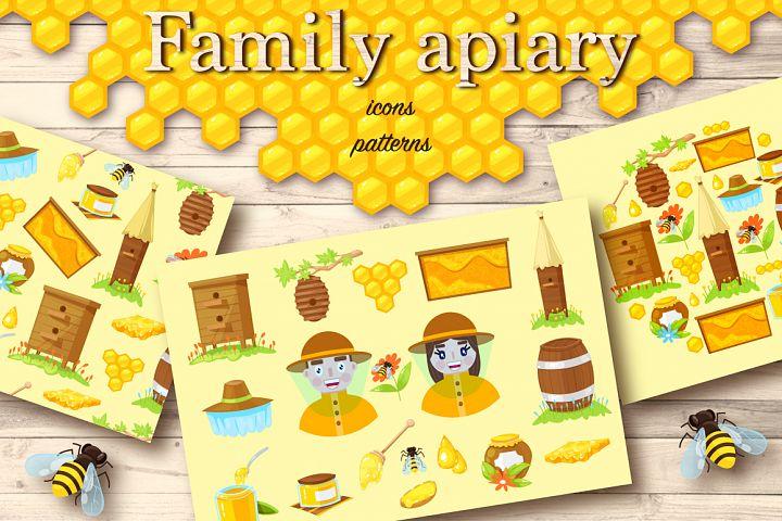 Apiary.Cartoon icons,pattern,cards.