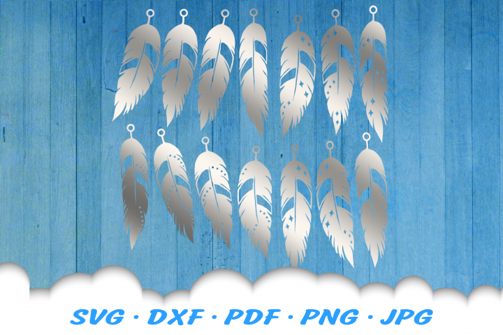 Feather Earring Template SVG DXF Cut Files