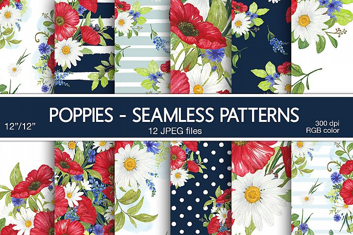 Poppies Digital Papers Floral Seamless Patterns