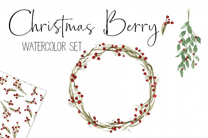 Christmas Watercolor Berry Wreath and Mistletoe Clip Art Set