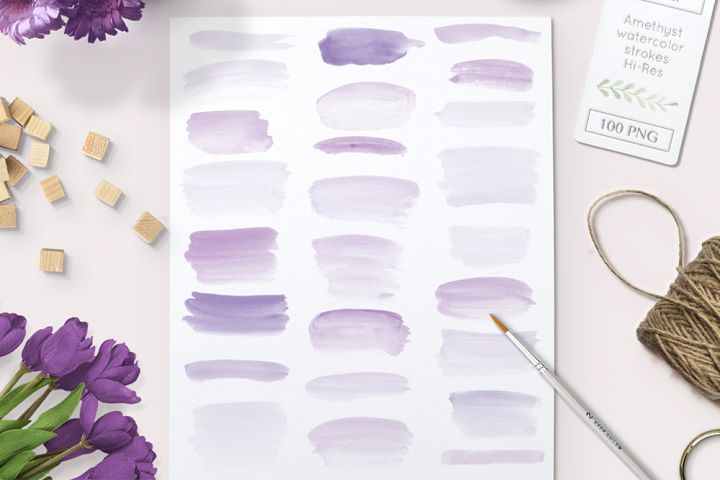 watercolor brush strokes purple clipart graphics - 100 PNG