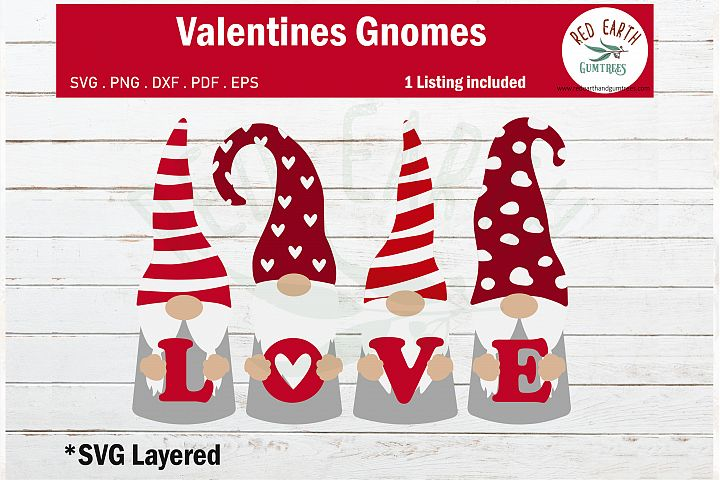 Valentines day gnome holding love heart SVG,PNG,DXF,EPS,PDF
