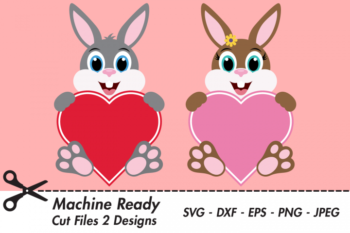 Cute Bunny Rabbit Valentine Heart SVG Cut Files, Bunnies