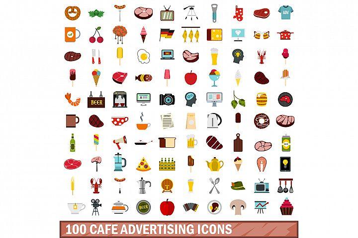 100 cafe advertising icons set, flat style