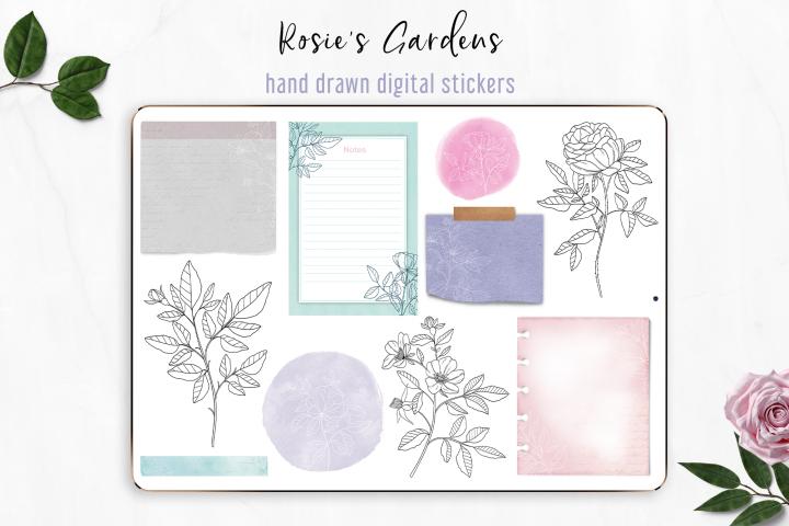 Elegant Digital Stickers - Rosies Gardens, GoodNotes5 PNG