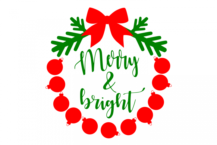 Merry and Bright svg Christmas svg png dxf eps