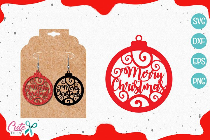 Merry christmas Earrings templante SVG cut file