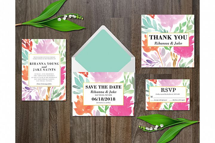 Watercolor Flower Wedding Suite