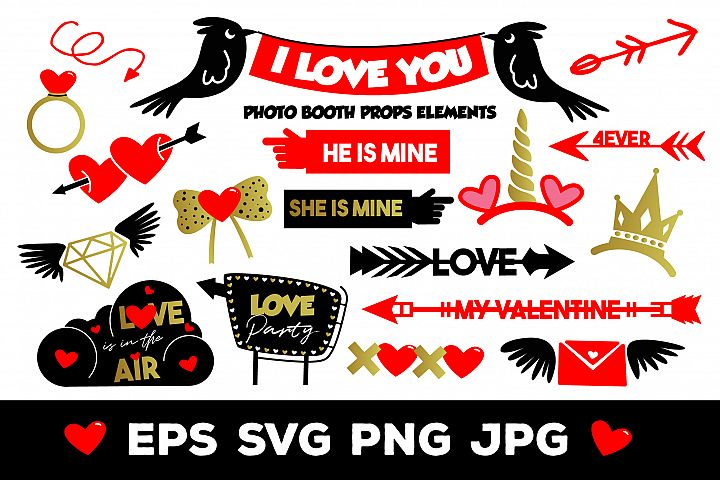 I Love You Photo Booth Props Elements