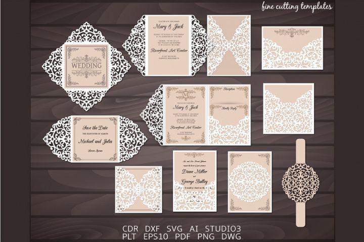 Laser cut Wedding invitation set of 8 templates SVG, CDR