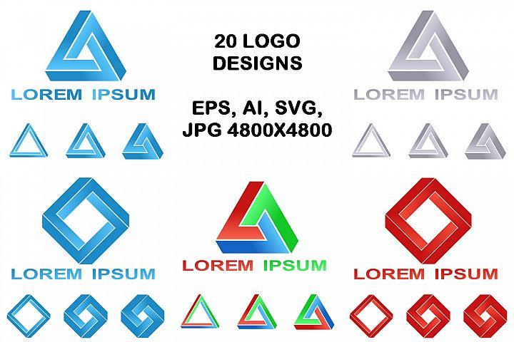 20 impossible polygon logo designs (EPS, AI, SVG, JPG 4800x4800)