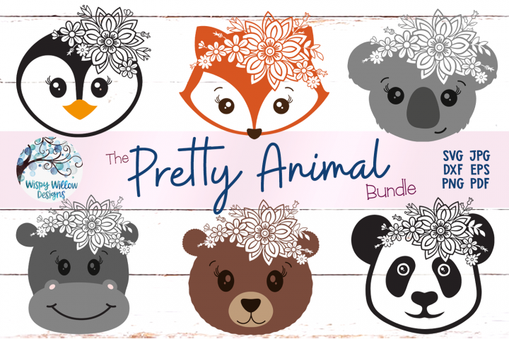 Pretty Animal SVG Bundle | Floral Animal Faces SVG Cut Files