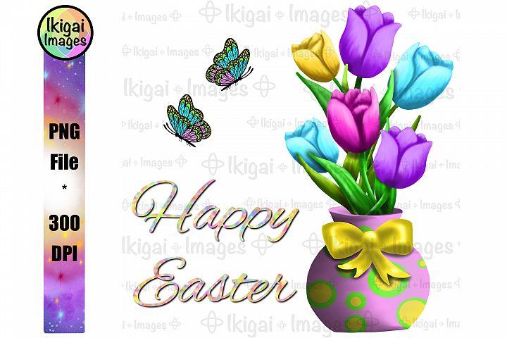 Happy Easter Tulips Flower Vase Sublimation PNG Clipart File