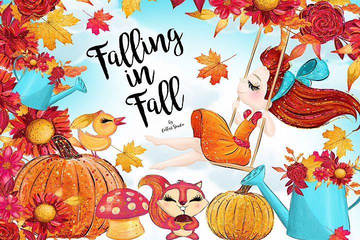 Autumn clipart, fall illustrations, cute girl clipart