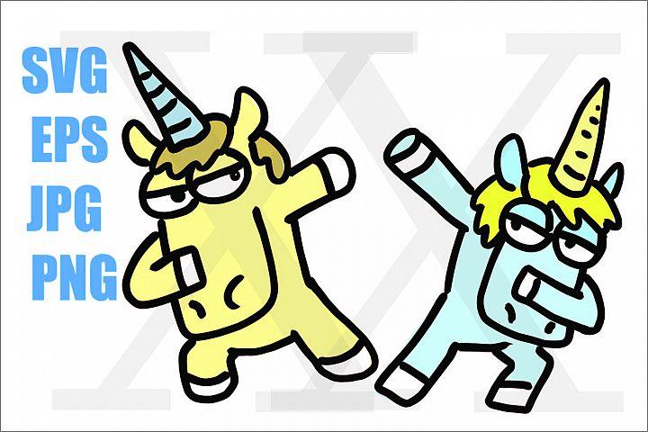 Unicorn Dabbing - SVG-EPS-JPG-PNG