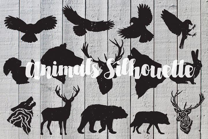 Hand drawn animals silhouette