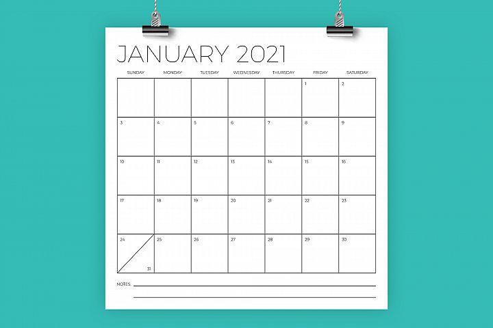 12 x 12 Inch Minimal 2021 Calendar