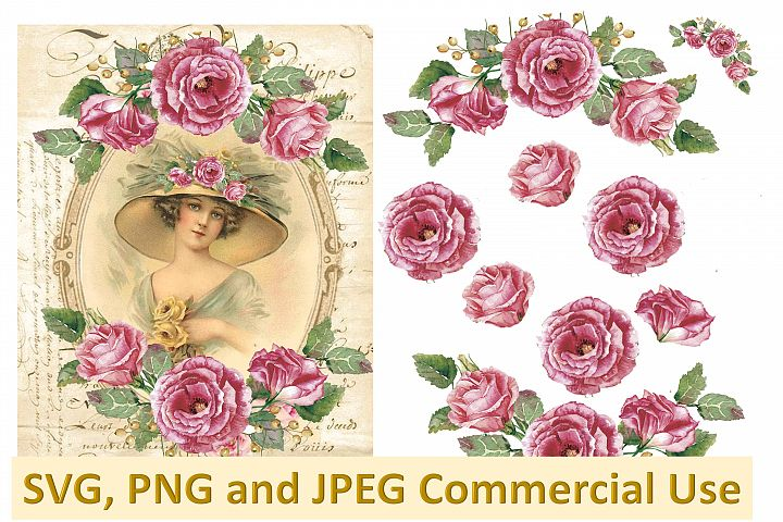 SVG, PNG and JPEG Vintage collage sheet commercial use