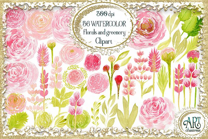 Watercolor Floral Clipart Blush pink and coral illustrations