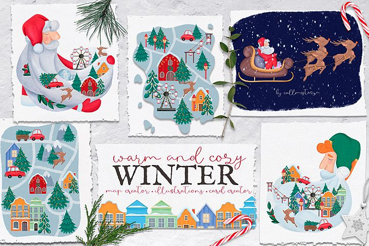 Warm and Cozy Winter. Graphic set