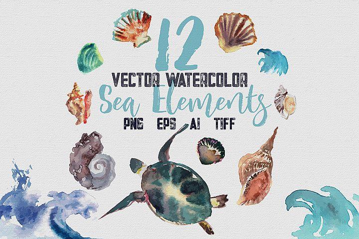 12 Vector Watecolor Clipart Sea Elements, png, tiff, ai, eps
