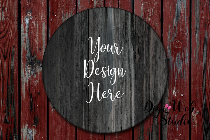 Wood Sign Mockup - Round Weathered Wood Sign