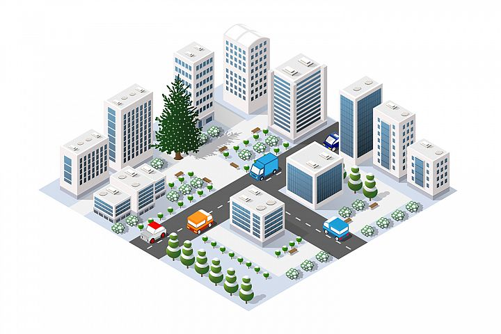 Winter city isometric