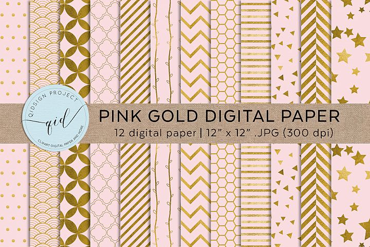 Pink And Gold Digital Pattern Paper