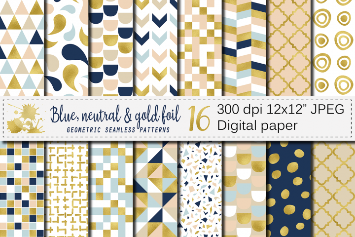 Blue, neutral and gold foil seamless geometric patterns