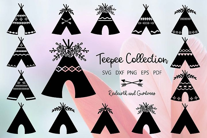 A Gorgeous collection of 15 Teepees in SVG format for cricut