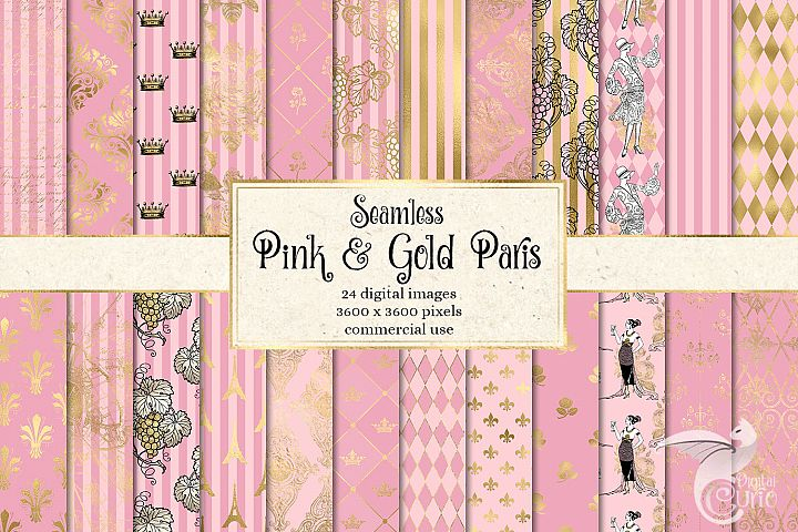 Pink and Gold Paris Digital Paper