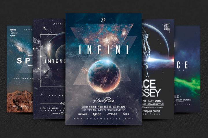 5 SPACE GALACTIC Premium Flyer emplates Bundle
