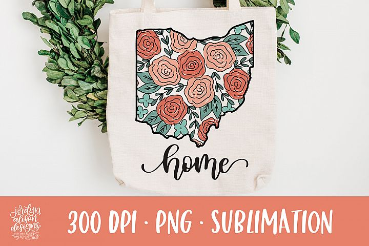 Home Ohio, Coral Roses Sublimation Design