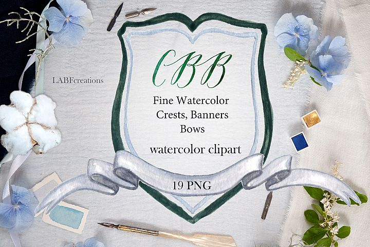 Watercolor Crest, Banner & bow. Watercolor clip art.