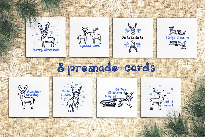 8 hand drawn greeting cards with Christmas deer