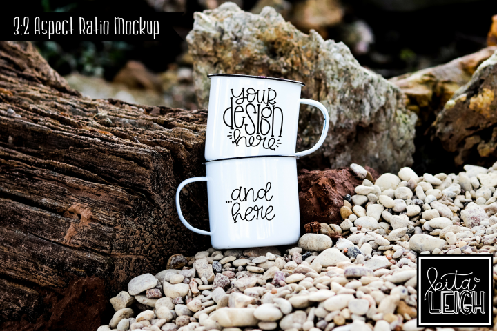 Two White Campfire Mug Beach Camping Mockup