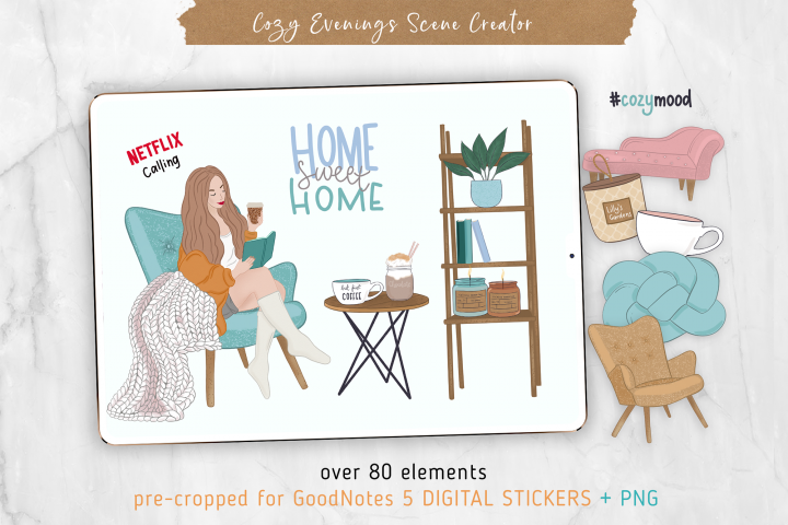 Cozy Digital Stickers Scene Creator. PNG & GoodNotes 5 file