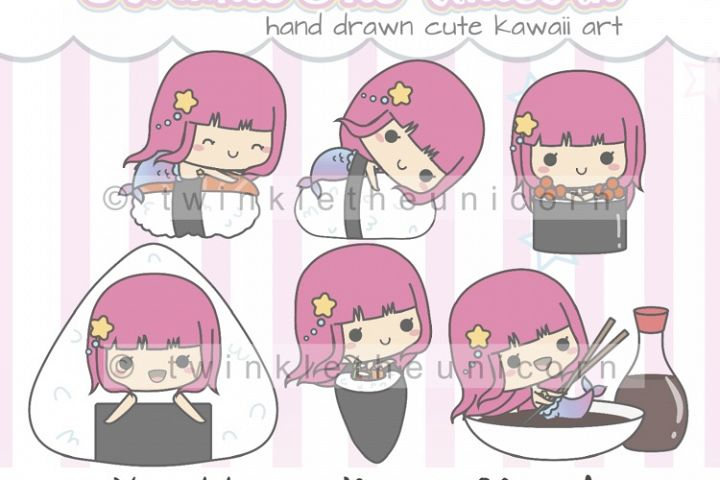 KAWAII MERMAID CLIPART, png graphic collection, sushi food, planner girl, japanese food, sashimi, fast food clipart, cute clipart