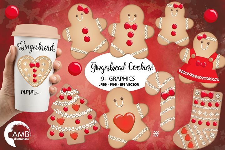 Christmas Cookie Clipart, GRAPHICS, ILLUSTRATIONS AMB-1502