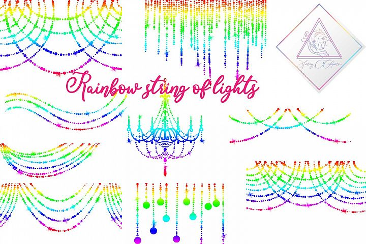 Rainbow String Lights Clipart