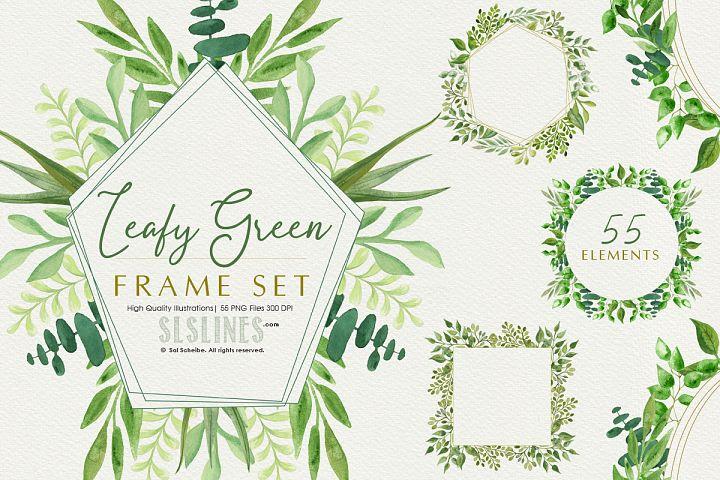 Leafy Green Geometric Frame Set