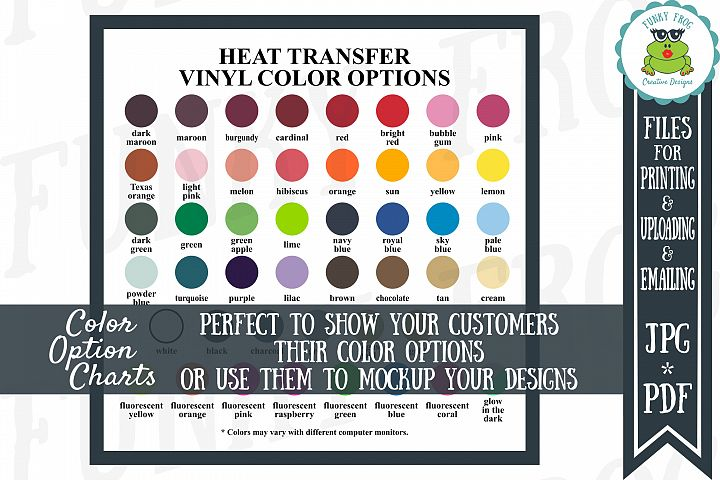 SISER EASYWEED Heat Transfer Vinyl Color Options Chart - JPG