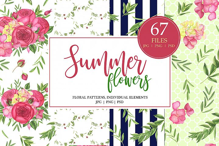 Watercolor Summer Flowers Patterns