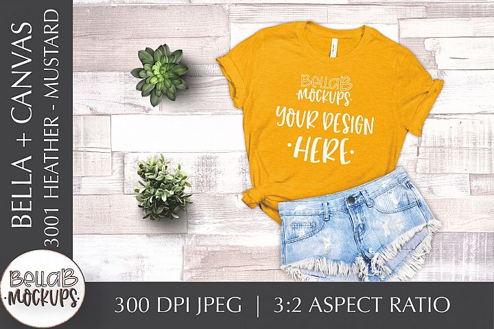 Bella Canvas 3001 Heather Womans T Shirt Mockup, Mustard