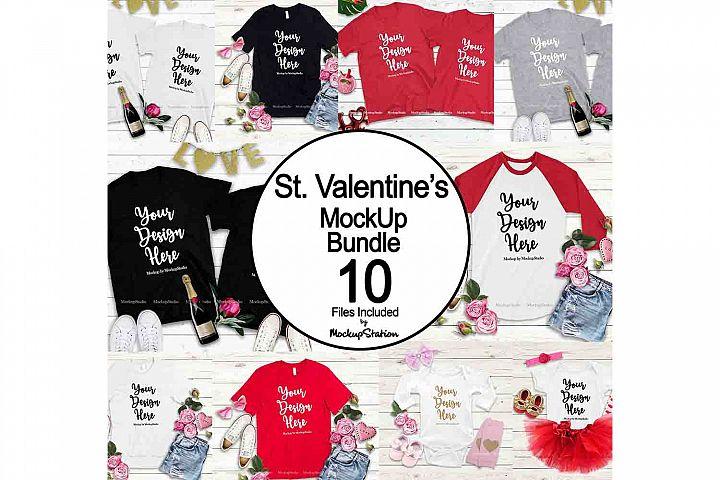 Valentine Tshirt Mockup Bundle, Valentines Day Shirts
