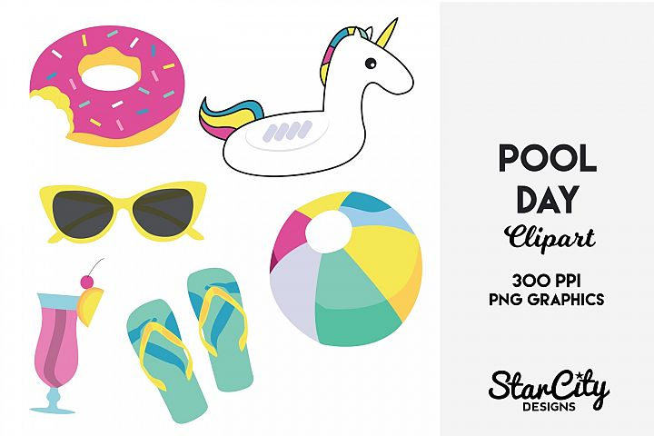 Pool Day Clipart for Commercial Use