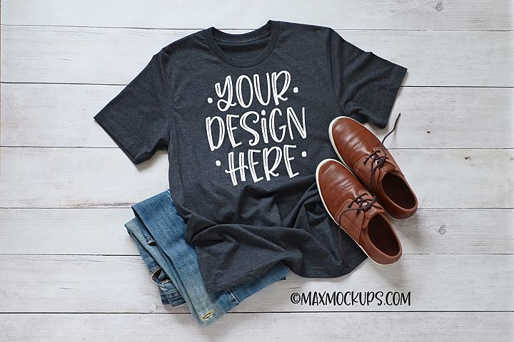 Gray t-shirt Mockup Bella Canvas 3001, men jeans shoes theme
