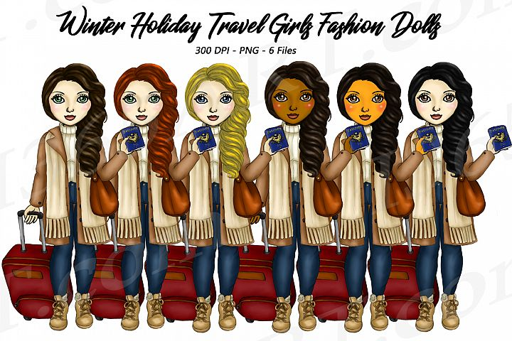 Winter Holiday Travel Clipart Girls Fashion Dolls PNG