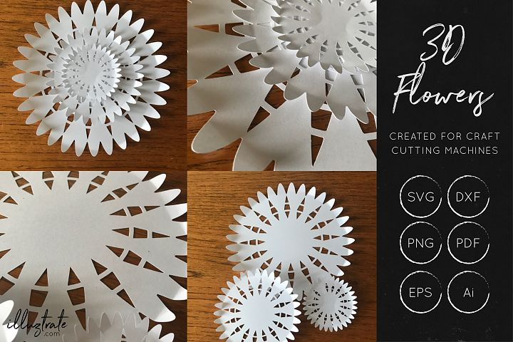 3D Flower SVG Cut Files - Flower SVG - Layered Flower DXF - Free Design of The Week Design3